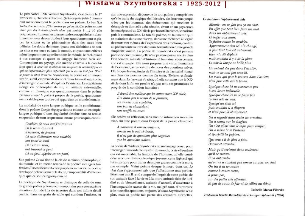 Le Journal des poètes- Wislawa szymborska par Isabelle Macor-Filarska mars 2013