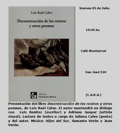Libro Luis Raúl Calvo Deconstrucción de los rostros y otros poemas